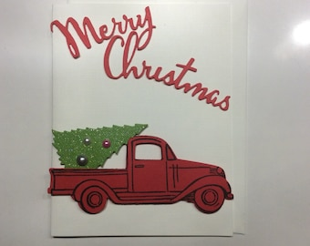 Happy Holidays Red Truck Card Merry Christmas Card Holiday Car Card Merry Christmas Card Happy Holidays Card Handmade