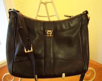Etienne Aigner,leather purse,multi compartment,shoulder bag,black leather purse,brass trim,vintage handbags,vintage clothing