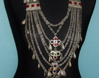 Vintage Tribal Necklace from Afghanistan II, Kandahar Necklace with Colorful Glassjewels