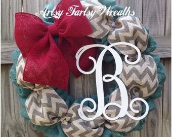 Monogram Burlap Wreath, Burlap Wreath, Monogram Wreath, Everyday Wreath