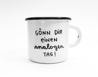 """Take enamel cup """"day analog"""" analog day! Enamel cup camping tableware mug Cup enamel analog digital detox"""