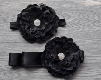 Black Floral Sash Set, Headband Set, Maternity Sash, Bridal sash, Photo prop