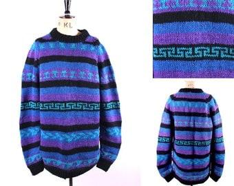 Vintage 80's Handknitted Long Jumper or Jumperdress Blue Black Aztec Knit