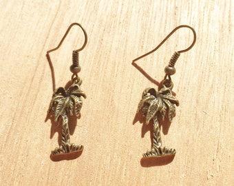Palm Tree Bronze Colour Earrings