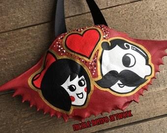 Customizable Heart - Natty Boh & Utz Girl Hand Painted Crab Shell