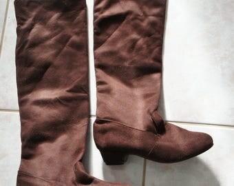 Ladies boots, block heels, faux suede SZ 5.5 US, 35.5 EU