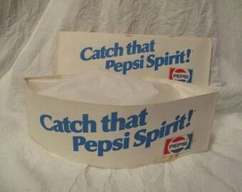 Set of 5 Vintage Catch That Pepsi Spirit Logo paper hats Ephemera