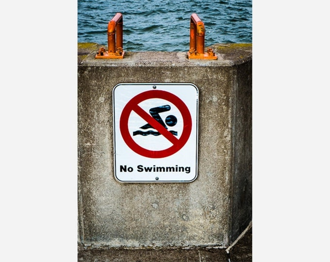 NO SWIMMING | modern fine art photography blank note cards custom books interior wall decor affordable pictures –Rick Graves