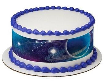 Space edible cake topper, space edible cupcake toppers, space party, outer space cake topper, galaxy birthday cake, galaxy cake