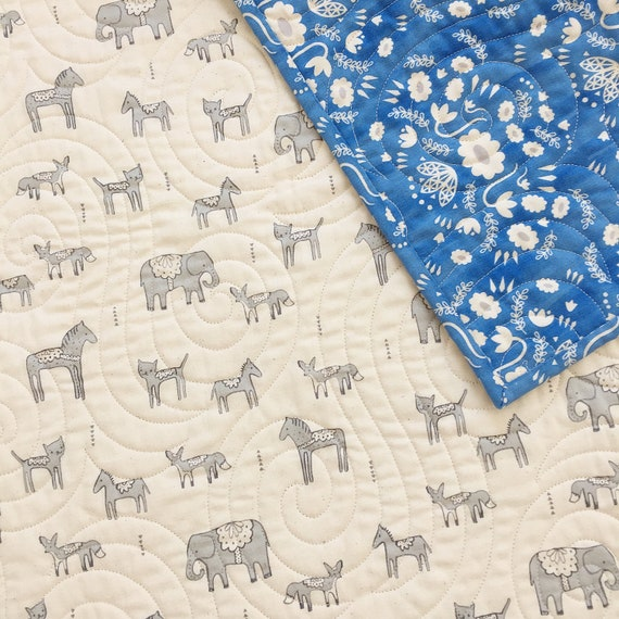 Baby/Toddler Quilt in Flower Shop Wholecloth in Blue - MADE-to-ORDER - elephant baby quilt, animal crib quilt, toddler quilt boho crib quilt