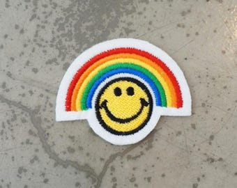 Rainbow smile patch,Rainbow smile applique,Rainbow smile wappen,Craft Supplies,Tools,Sewing,Fiber,applique,craft supplies,tools,sewing,fiber