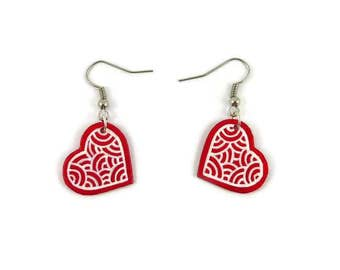 Red hearts earrings with white doodles and fixed by the side, plastic romantic dangle earrings (recycled CD), Valentine's day gift