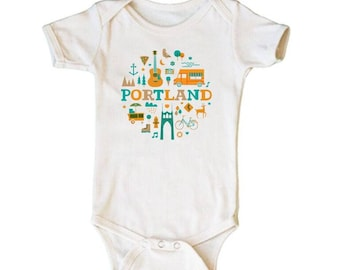 City Living Onesie - Portland - Oregon - Baby Shower - Newborn Gift - Take Home Outfit - Gender Neutral - Hometown - Organic