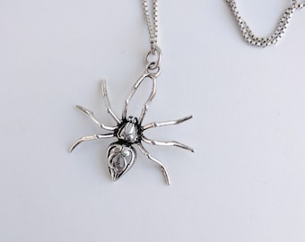 90s Goth Sterling Spider Pendant