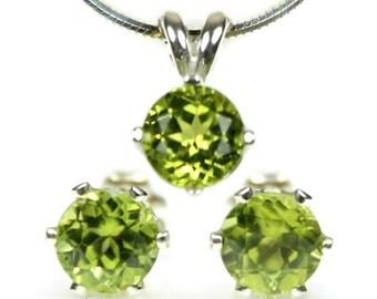 Peridot Earrings and Necklace Set, Peridot Jewelry Set, Peridot Studs, Peridot Pendant, Anniversary Gift, Peridot Jewelry, Green Jewelry