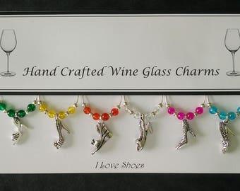 I Love Shoes Set of Wine Glass Charms
