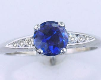 Art Deco 1.37ct Sapphire & Diamond 14k Gold Vintage Antique Engagement Ring