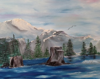 Waves snow covered mountains pine trees bird in flight wrapped oil on canvas 24 x 30 raised texture