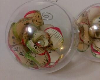 Christmas Music Paper Flower Ornament // Sheet Music Ornament // Christmas Carols