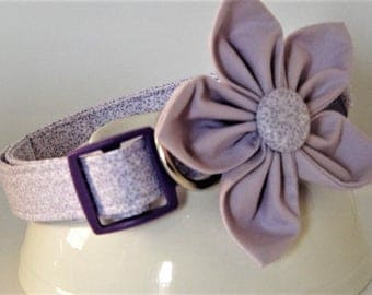 Purple Dog Collar- Fabric Dog Collar with Flower - Small Dog Collar - Large Dog Collar - Girl Dog Collar - Optional Matching Leash Available