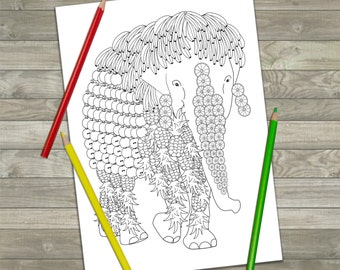 Printable Elephant Colouring Page, Adult Coloring Pages, Downloadable Colouring Page, Art Therapy, Animal Illustration, Downloadable Gift
