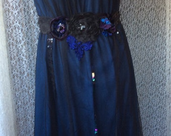 Night Fairy- Beautiful Dress Altered Couture Romantic Handcraft Upcycled Sz M