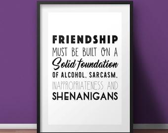 Friendship print, Funny Print, Housewarming gift, Typography Print, Funny print, Wall Art, Motivational poster, A4 wall art, shenanigans