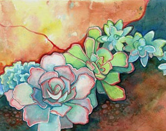 Succulent Rock Garden Art Print/ Botanical Watercolor Limited Edition Giclee by Susan Faye