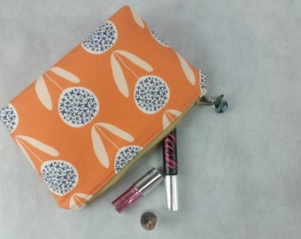 Small peachy dandelion catch-all cosmetic, makeup and essential oil bag, zipper pouch, ready to ship gift