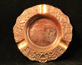 Reno Lake Tahoe Ashtray Vintage Travel Souvenir, Copper like Metal Ashtray, Virginia City