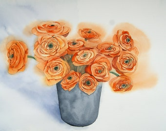 Flowers watercolor Flowers wall art Painting wall decor Ranunculus flower Blossoms Painting Watercolor bouquet Orange flowers