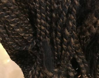 handspun blue and brown bulky wool yarn
