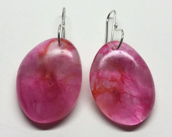 Pink and orange swirl eco friendly bio resin earrings with Argentium 935 Silver hooks