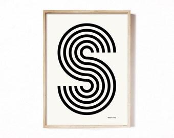 Letter S - modern typography alphabet print.