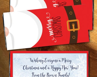 12 Merry Christmas Santa Personalized Candy Bar Wrappers - Photo Hershey, Large Candy Bar Label, Merry Christmas, Christmas Stocking Stuffer