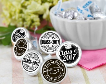 108 Class of 2017 Hershey Kiss® Stickers - Hershey Kiss Stickers Graduation- Personalized Hershey Kiss Labels - Graduate Hershey Kiss Seals