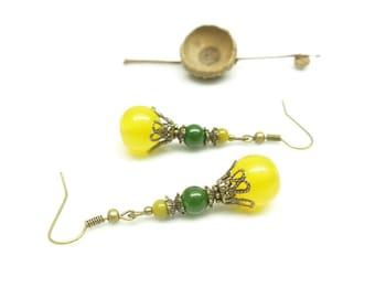 Earrings Bohemian yellow. Earrings yellow and green stones. Earrings yellow stone.