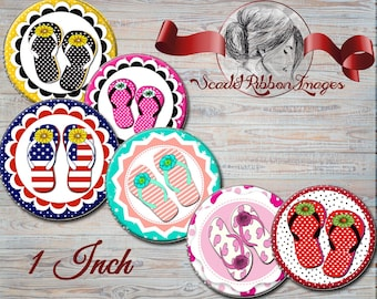 Flip Flop Summer Fun clip art 1 inch Bottle Cap images -  600dpi  printable digital collage sheet, stickers,  magnets, party tags, drink tag