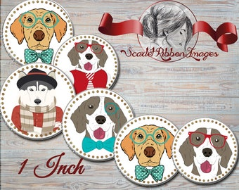 INTELLIGENT DOG IMAGES - Bottle Cap dog portrait images - in 1 in circles - 600dpi, Collage Sheet, cupcake toppers, Gift Tags, BottleCaps
