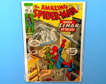 Amazing Spiderman #92 Comic Book, (Grade NM) 1971, Marvel Comics Spider-Man, Iceman, B4