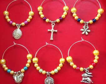 Set of 6 Easter wine glass charms