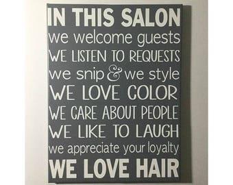 Hair salon rules sign - painted canvas sign - salon decor - salon owner gift - salon rules
