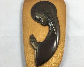 Mid Century Modern Madonna Plaque, West Germany, Praying Madonna, Virgin Mary Wall Plaque, Metal on Wood, Mid Century Religious Wall Hanging
