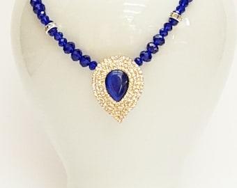 Cobalt Blue Teardrop Necklace, Cobalt Blue Jewelry, Blue Jewelry, Magnetic Clasp Necklace, Australian Made, Gift for Her, Statement Necklace
