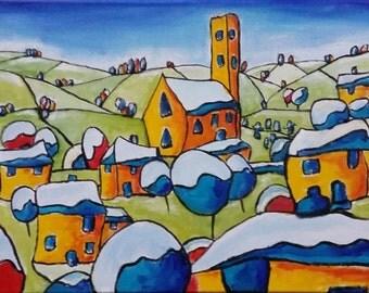 "Original Christmas Painting, Original Landscape Painting, Art Expressionism, Original Oil Abstract Painting Canvas 16""x12"" Art Colorist"