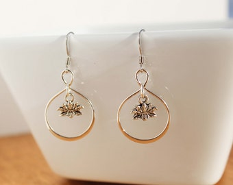 Lotus Dangle Earring .925 Sterling Silver Flower Charm Dainty Jewelry Gift Idea for Girlfriend Anniversary Gift Yoga Jewelry Bridesmaid Gift