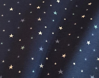 Starry night fabric etsy for Night sky print fabric