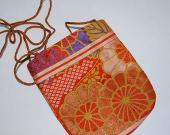 Orange and Tan Silk Obi-Evening Purse