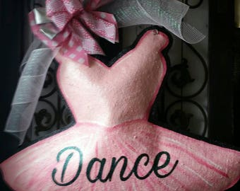 Leotard with tutu burlap door hanger