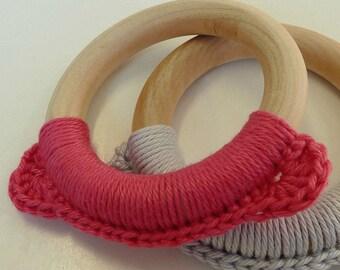 Pink Bear Teething Toy, Pink Teething Ring, Baby Teether, Wooden Teething Toy, Montessori Toy, Pink Crochet Teething Toy